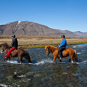 Riding through river in Iceland