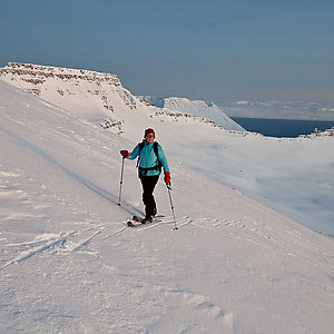 Skiing in wild nature Iceland
