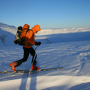 Mountain skiing in Iceland