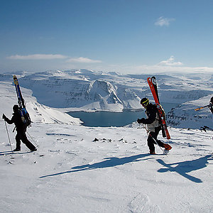 alpine ski touring in the westfjord mountains of Iceland