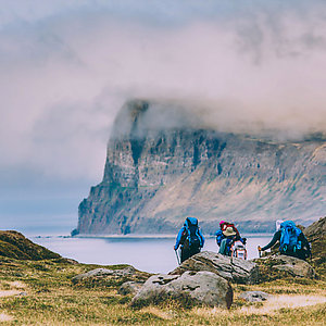 Mountain hiking in Westfjords Iceland