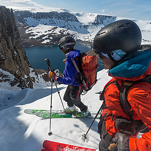 Mountain skiing in Westfjords Iceland