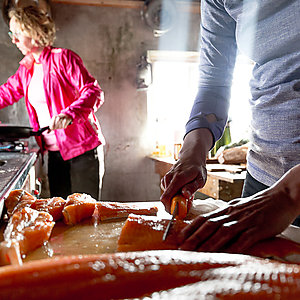 Cooking at Kviar skiing lodge in Westfjords Iceland