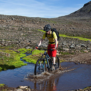 Biking in mountains in Iceland