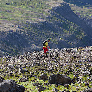 Biking on mountains in Iceland